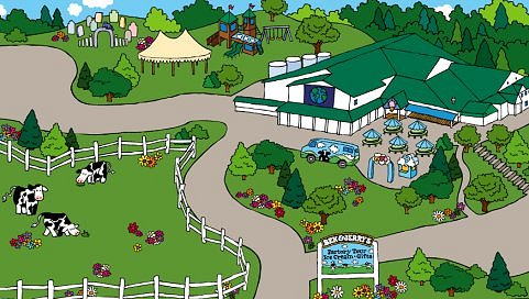 ben and jerrys factory illustration